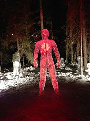 人の体内を模した氷像