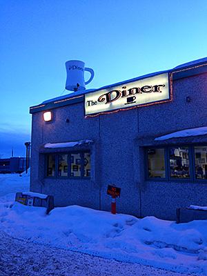 ライトのついたカフェ