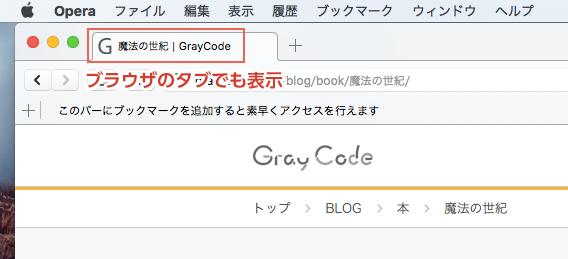 ブラウザにおけるtitle要素の表示例