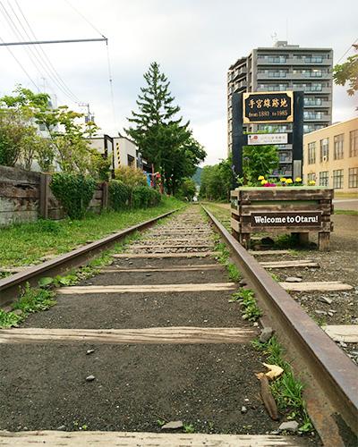 廃線になった列車の線路。ずーっと続いています。