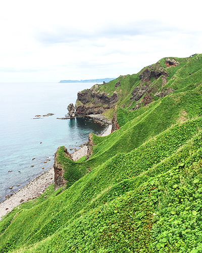 ガイドブックにも乗っている神威岬の風景