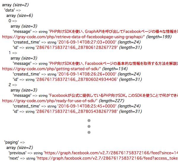 GraphAPIからのデータ取得結果