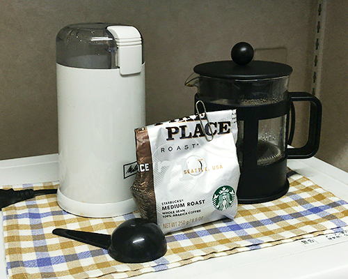 コーヒーを淹れるための器具一式