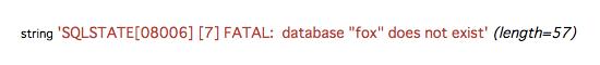 PostgreSQLサーバーへの接続に失敗した場合の表示例