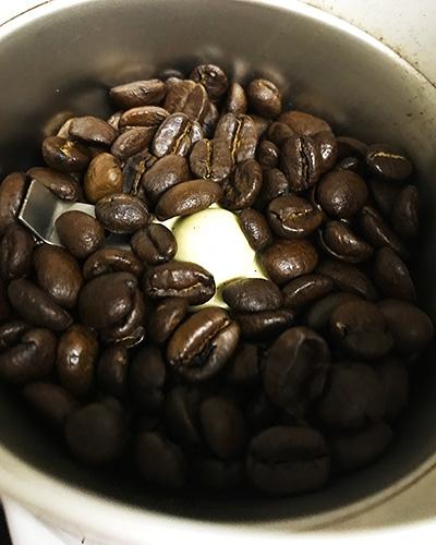 程よい茶色。豆は小粒。