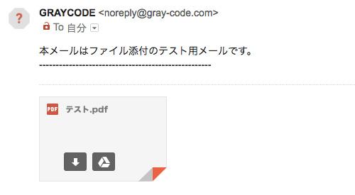 添付ファイル付きのメールが届いた例