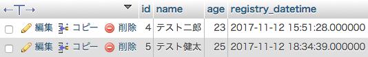 操作後のテーブル(MySQL or MariaDB)