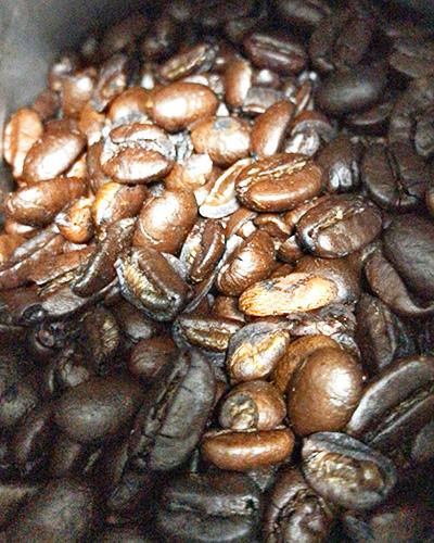 艶のある鮮やかな茶色のコーヒー豆