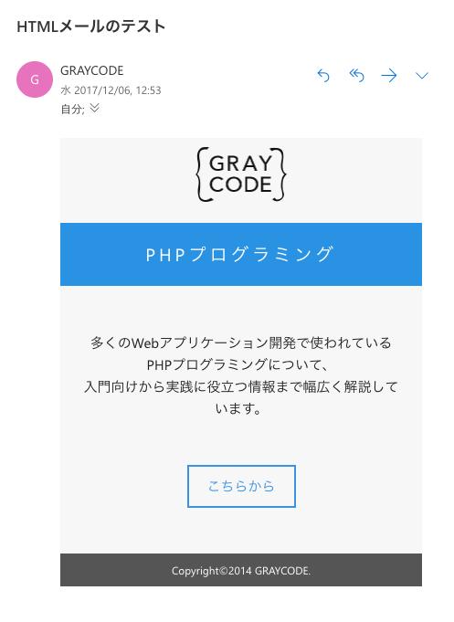 OutlookでのHTMLメール表示例