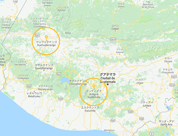 GoogleMapで確認したグアテマラ