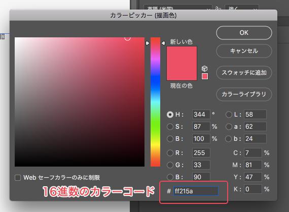 Photoshopで表示されるカラーコード