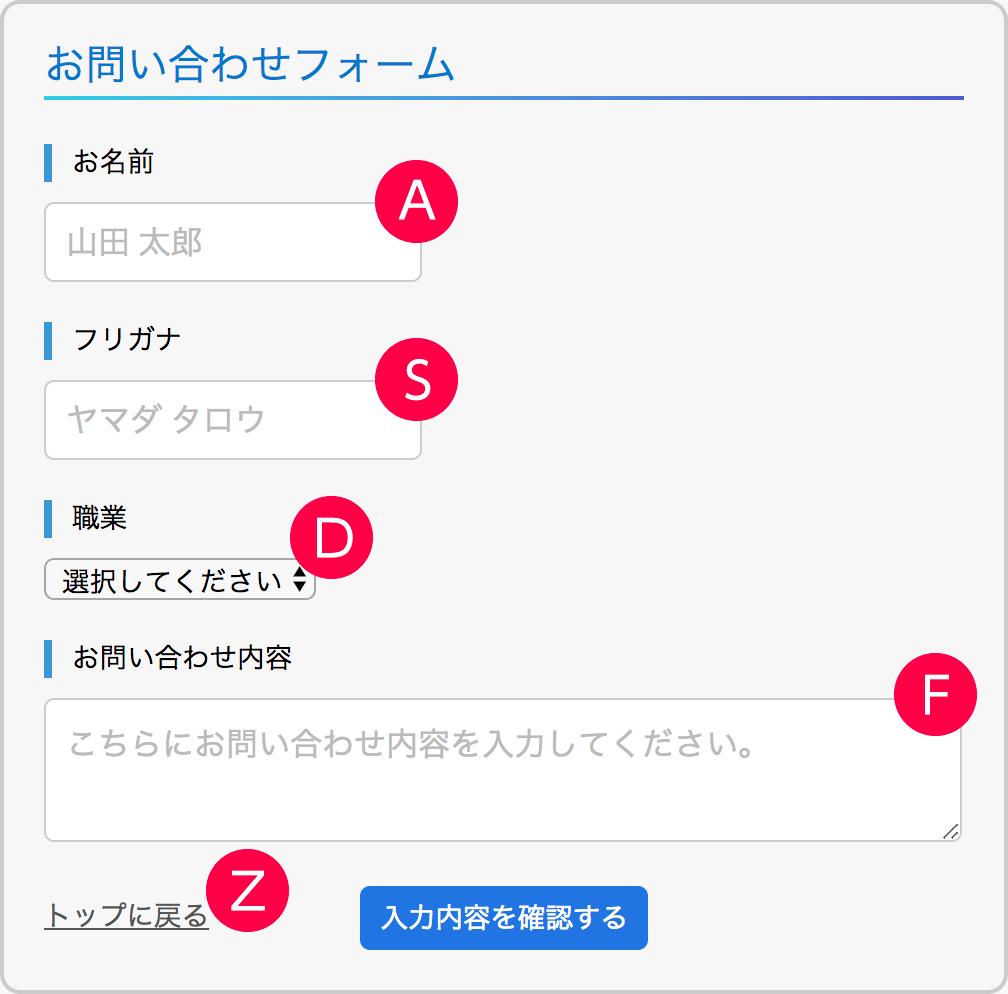 各要素にアクセスキーを設定する