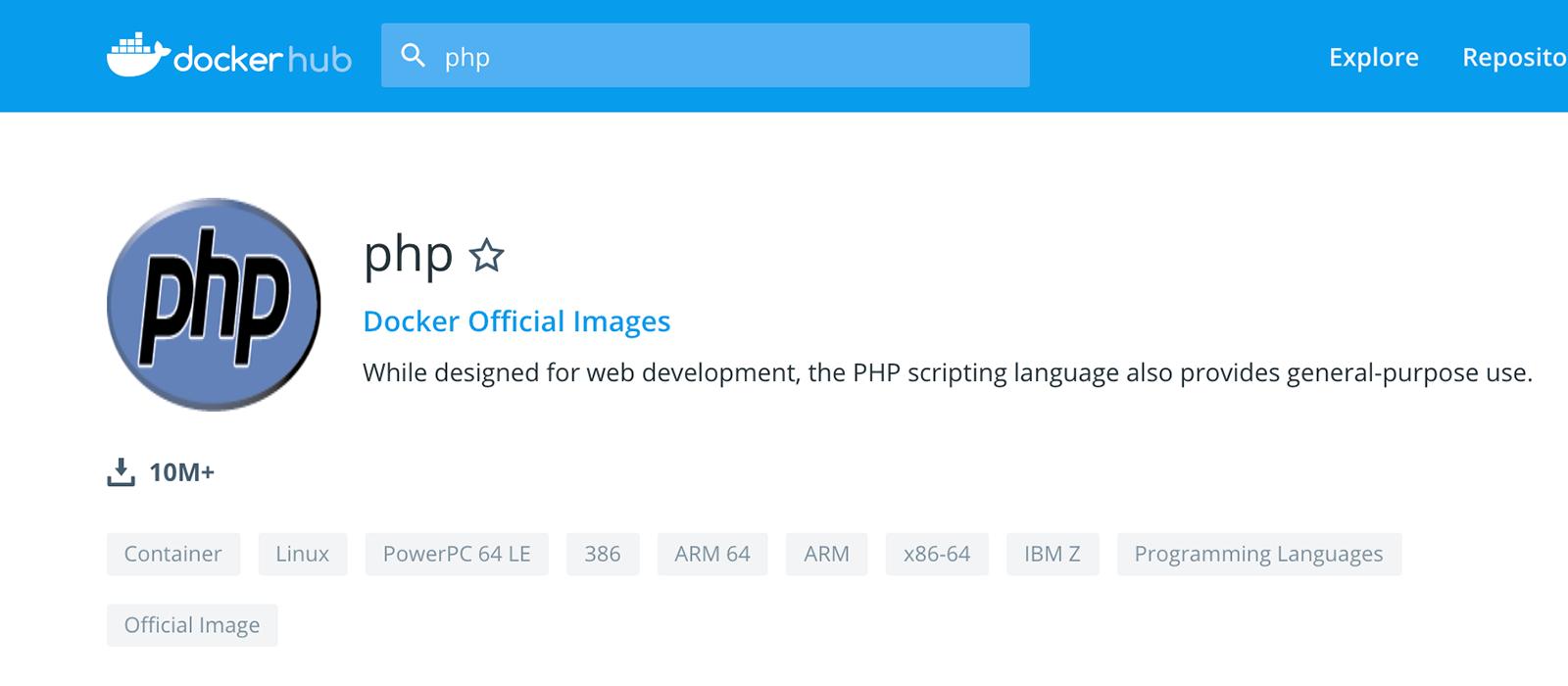 phpのコンテナイメージのページ