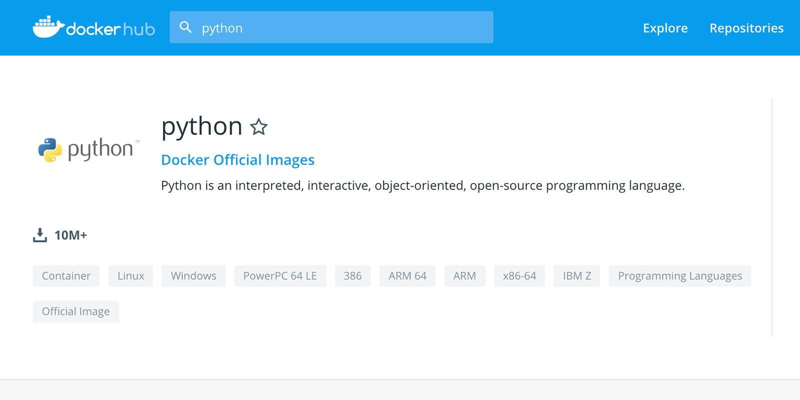 Pythonのコンテナイメージのページ
